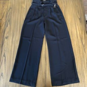 Express high rise black belted wide leg dress pant